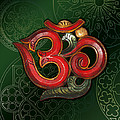 Red Wooden Om Green Mandala by ReadyForYoga Online-Shop