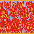 Red Yellow Blue Art Print Botanical Drawing Flowers Line Drawing Flower Botanical Print Art Botan by Eddie Alfaro