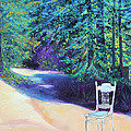 Redwood Path And White Chair by Asha Carolyn Young