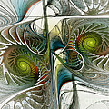 Reflected Spirals Fractal Art by Karin Kuhlmann