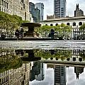 Reflecting In Bryant Park by Shmuli Evers