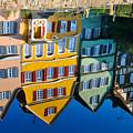 Reflection Of Colorful Houses In Neckar River Tuebingen Germany by Matthias Hauser