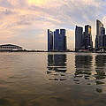 Reflection Of Singapore Skyline Panorama by Jit Lim
