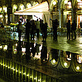Reflections Of Saint Mark's Square-night by Jennifer Wheatley Wolf