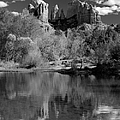 Reflections Of Sedona Black And White by Joshua House