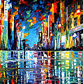 Reflections Of The Blue Rain - Palette Knife Oil Painting On Canvas By Leonid Afremov by Leonid Afremov