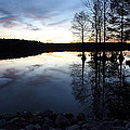 Reflections On Lake At Sunset by April Copeland
