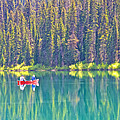 Reflective Fishing On Emerald Lake In Yoho National Park-british Columbia-canada  by Ruth Hager
