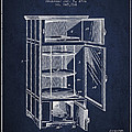 Refrigerator Patent From 1901 - Navy Blue by Aged Pixel