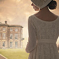 Regency Period Woman With Mansion In Background by Lee Avison