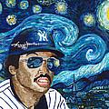 Reggie Jackson Starry Night by Jeff Gomez