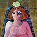 Regina, 2004 Acrylic & Metal Leaf On Canvas by Laila Shawa