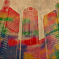 Renaissance Center Iconic Buildings of Detroit Watercolor on Worn Canvas Series Number 2 by Design Turnpike