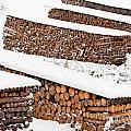Renewable Heat Source Firewood Stacked In Winter by Stephan Pietzko