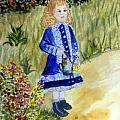 Renoir Girl With Watering Can In Watercolor by Donna Walsh