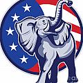 Republican Elephant Mascot Usa Flag by Aloysius Patrimonio
