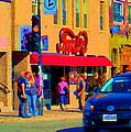 Restaurant Amir Internet Cafe Fast Food Plateau Montreal City Street Scene Art Carole Spandau  by Carole Spandau