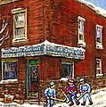 Restaurant Epicerie Jean Guy Pointe St. Charles Montreal Art Verdun Winter Scenes Hockey Paintings   by Carole Spandau