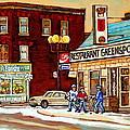 Restaurant Greenspot And Coin Vert Boutique Fleuriste Montreal Winter Street Hockey Scenes by Carole Spandau