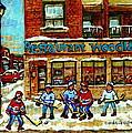 Restaurant Woodland Pizza Rue Wellington Verdun Original Hockey Art Montreal Paintings Commissions   by Carole Spandau