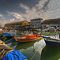 resting boats at the Jaffa port by Ron Shoshani