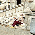 Resting On The Steps Of City Hall by Mike McCool