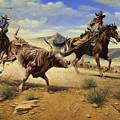 Restraint 2 Cowboys Roping A Steer by Don  Langeneckert