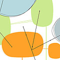 Retro Abstract In Orange And Green by Karyn Lewis Bonfiglio