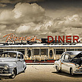 Retro Photo Of Historic Rosie's Diner With Vintage Automobiles by Randall Nyhof