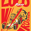 Retro Poster Cartoon Vintage Race Car by Pedro Alexandre Teixeira