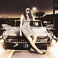 Retro Sixties Pinup Girl On Vintage Car by Jorgo Photography - Wall Art Gallery