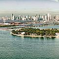 Retro Style Miami Skyline And Biscayne Bay by Gary Dean Mercer Clark