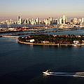 Retro Style Miami Skyline Sunrise And Biscayne Bay by Gary Dean Mercer Clark