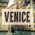 Retro Venice Grand Canal Poster by Mr Doomits