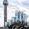 Reunion Tower Dallas Texas by Kathy Churchman