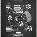 Revolving Firearm Patent Drawing from 1881 - Dark by Aged Pixel