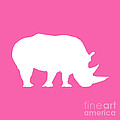 Rhino In Pink And White by Jackie Farnsworth
