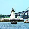 Rhode Island - Lighthouse Bridge And Boats Newport Ri by Susan Savad