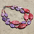 Rhodonite And Crazy Lace Agate Double Strand Chunky Necklace 3636 by Teresa Mucha