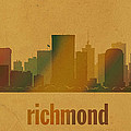 Richmond Virginia City Skyline Watercolor On Parchment by Design Turnpike