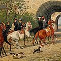 Riders At Uppsala Castle by John Arsenius