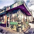 Riding High Skateboard Shop Watercolor by Edward Fielding