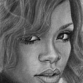 Rihanna Pencil Drawing by David Rives