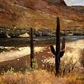 River And Cactus by Roger Lundskow