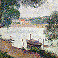 River Landscape With A Boat by Georges Pierre Seurat