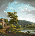 River Landscape With Farmhouse by Alexandre-Hyacinthe Dunouy