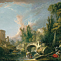 River Landscape With Ruin And Bridge by Francois Boucher