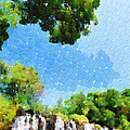 River Waterfall Painting by George Fedin and Magomed Magomedagaev