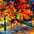 Rivershore Park - Palette Knife Oil Painting On Canvas By Leonid Afremov by Leonid Afremov