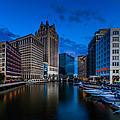 Riverside Blue Hour by Randy Scherkenbach